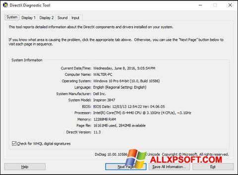 Ekran görüntüsü DirectX Windows XP