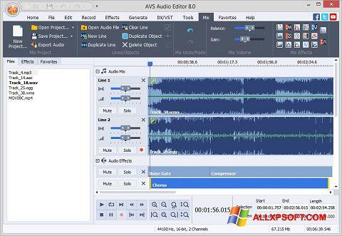Ekran görüntüsü AVS Audio Editor Windows XP