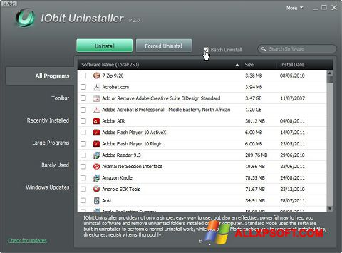 Ekran görüntüsü IObit Uninstaller Windows XP