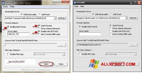 Ekran görüntüsü PeToUSB Windows XP