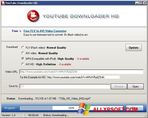 Ekran görüntüsü Youtube Downloader HD Windows XP