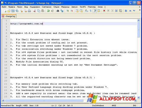 Ekran görüntüsü Notepad++ Windows XP