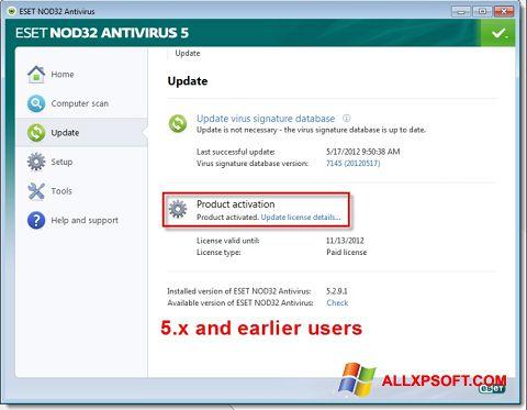 Ekran görüntüsü ESET NOD32 Windows XP