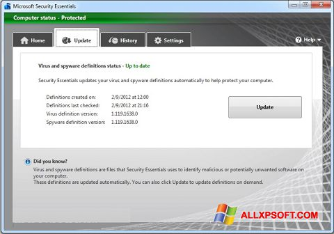 Ekran görüntüsü Microsoft Security Essentials Windows XP